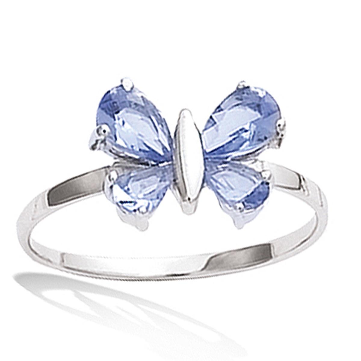 Bague Argent \'Papillon\' bleu tanzanite argenté (rhodié) - 12x8 mm - [K2558]