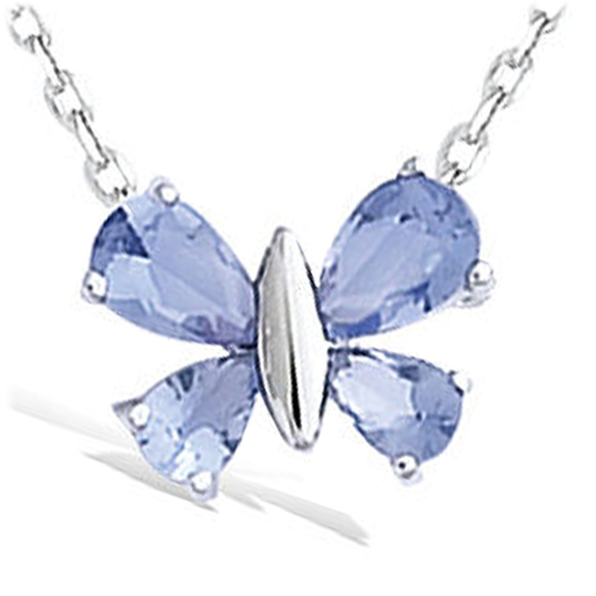 Pendentif Argent \'Papillon\' bleu tanzanite argenté (rhodié) - 12x10 mm - [K2571]