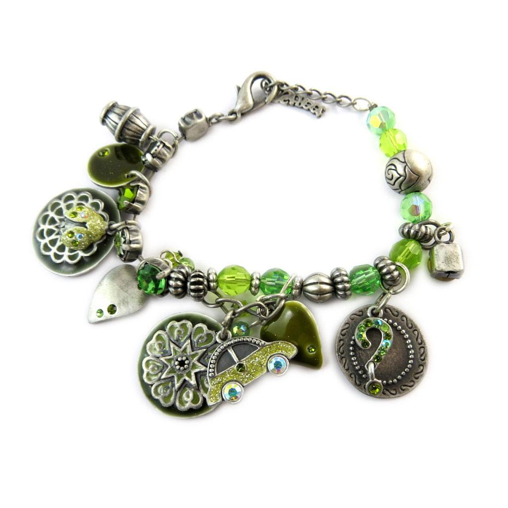 Bracelet Créateur \'Tour du Monde\' Vert  - [E2585]