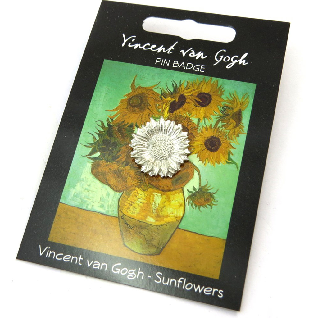 Broche pin\'s \'Vincent Van Gogh\' doré (tournesol) - [N5261]