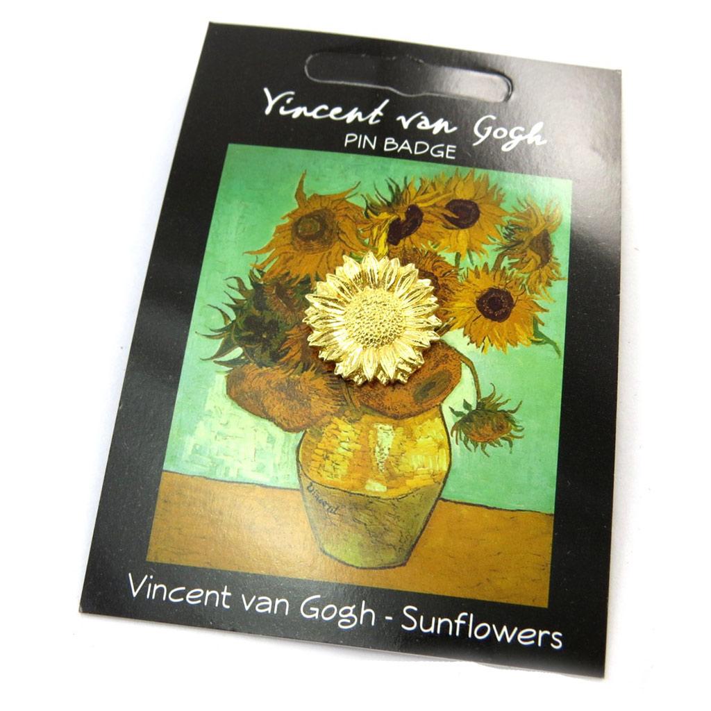 Broche pin\'s \'Vincent Van Gogh\' doré (tournesol) - [N5262]