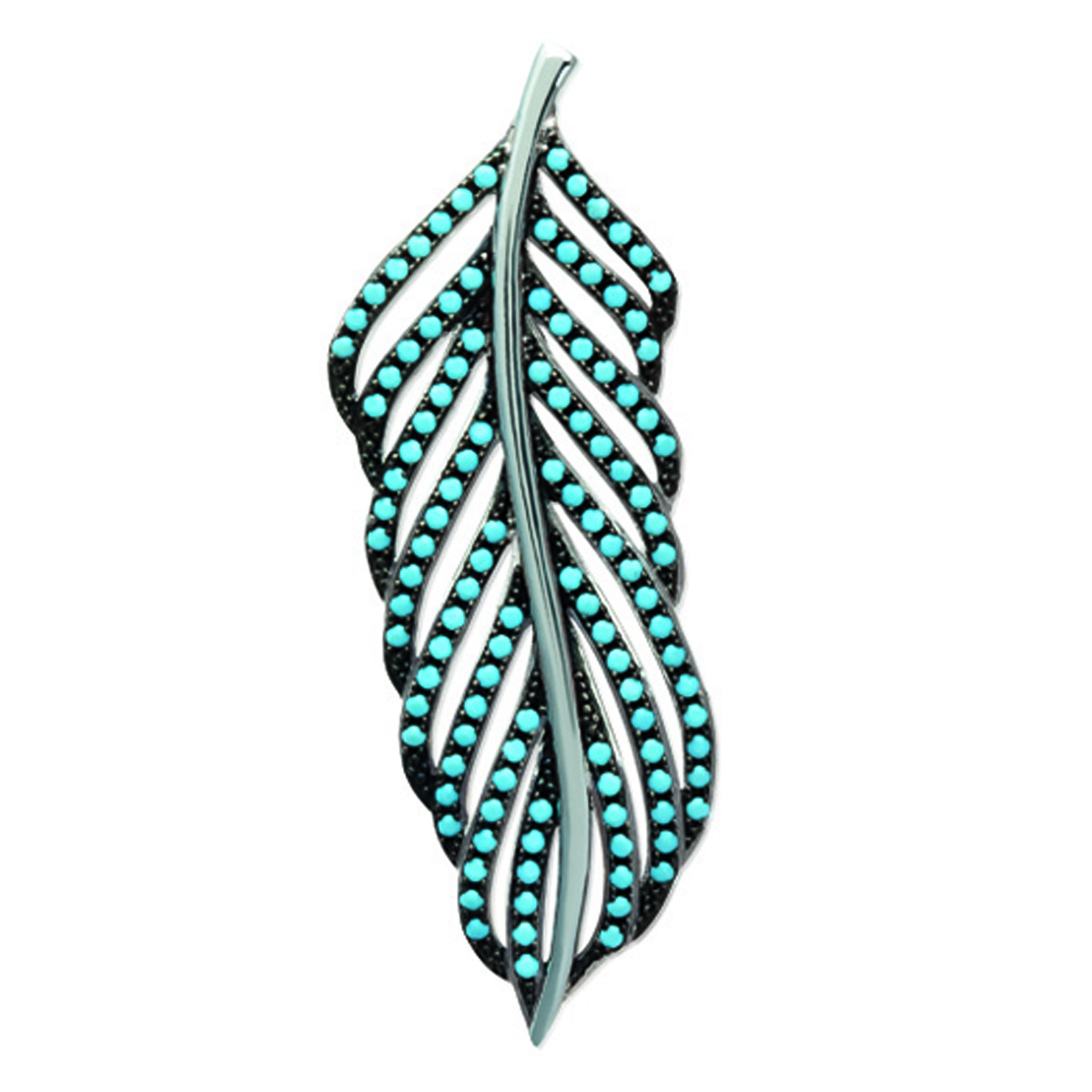 Pendentif Argent \'Navajos\' turquoise (rhodié) - 43x15 mm - [N6235]