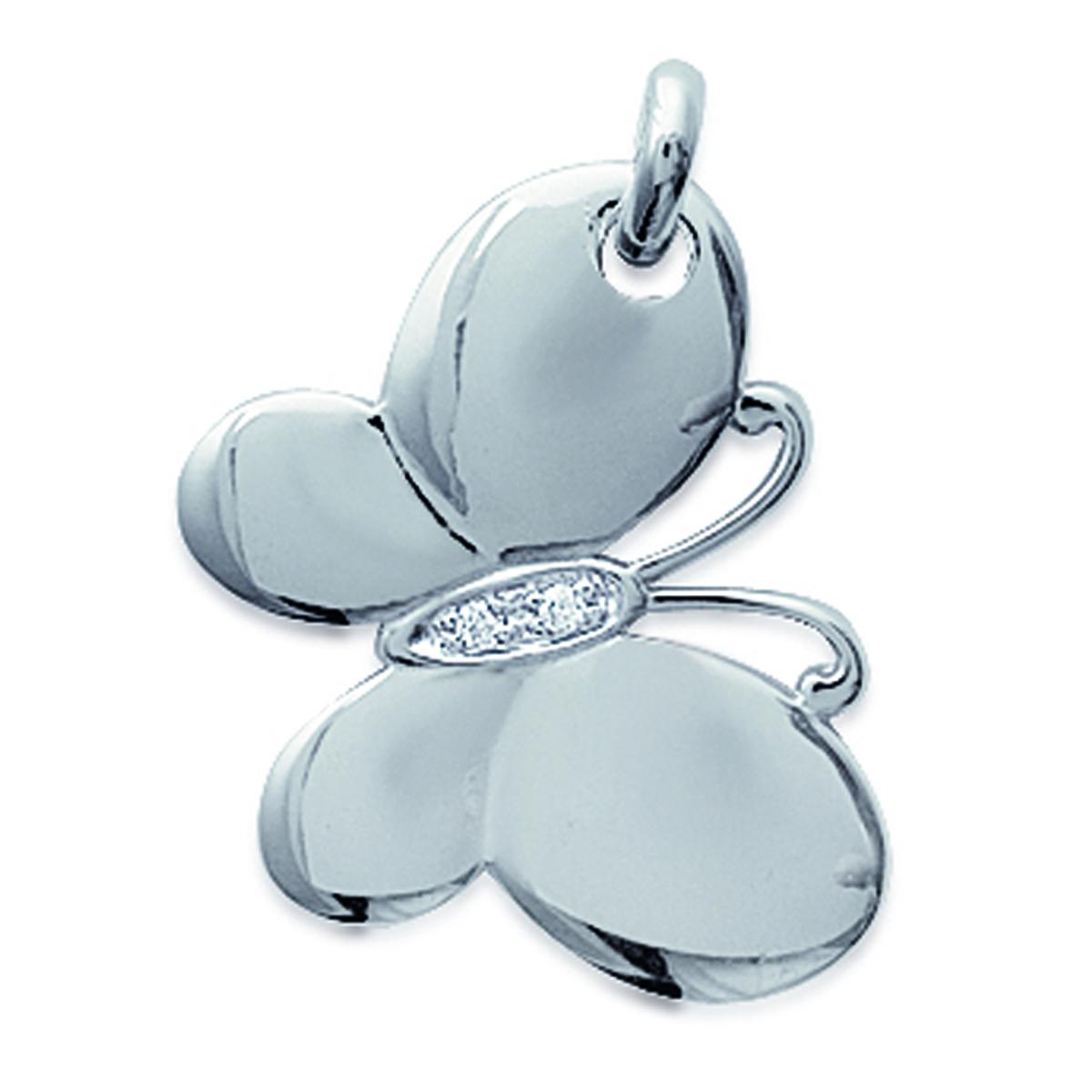 Pendentif Argent \'Papillon de Miel\' blanc argenté (rhodié) - 17x22 mm - [E2851]