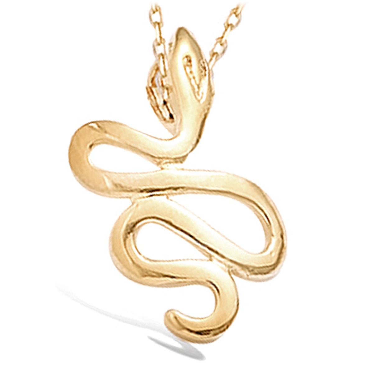 Pendentif Plaqué Or \'Serpent Mythique\' Doré - 15x25 mm - [B7593]