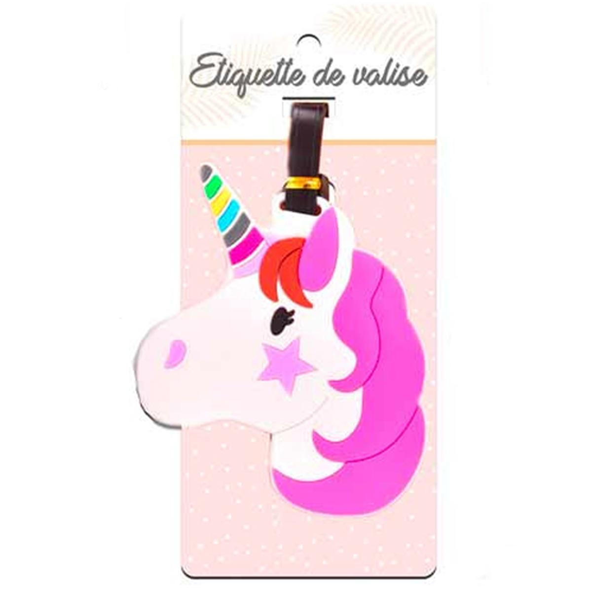 Porte-étiquettes de bagage \'Licorne My Unicorn\' rose blanc  - [Q7088]