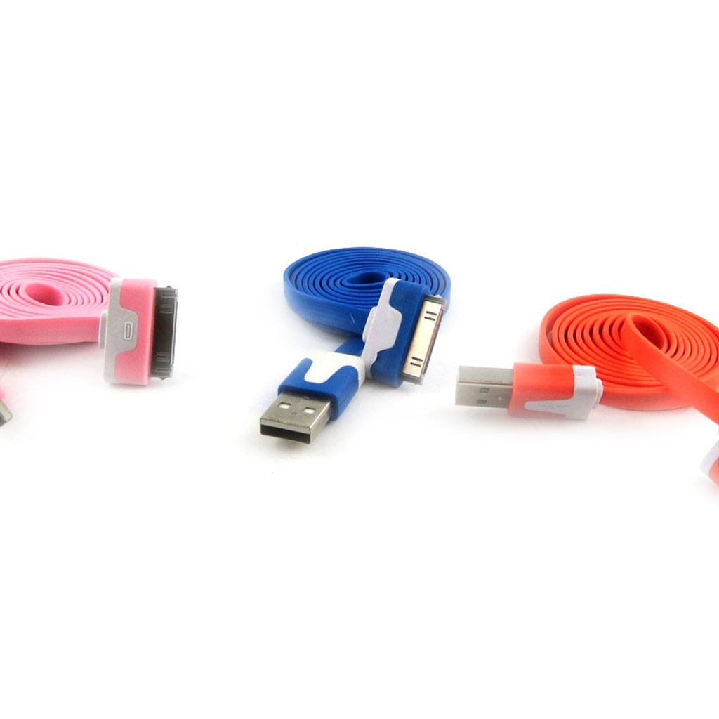 3 cables USB \'Coloriage\' iphone ipad (rose bleu orange) - [K9277]