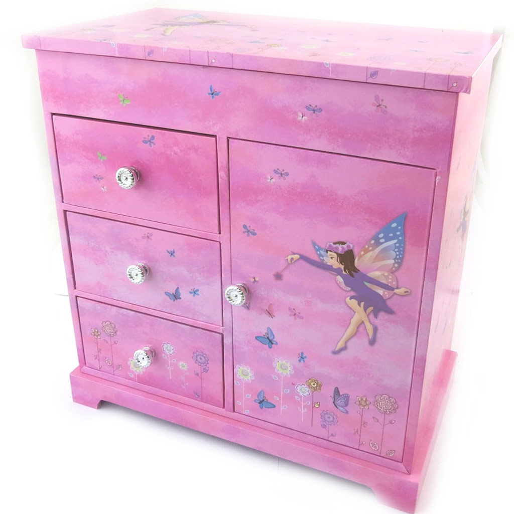 Coffret à Bijoux \'Fairy Dreams\' rose violet (Musical) - 23x225x125 cm - [N5282]