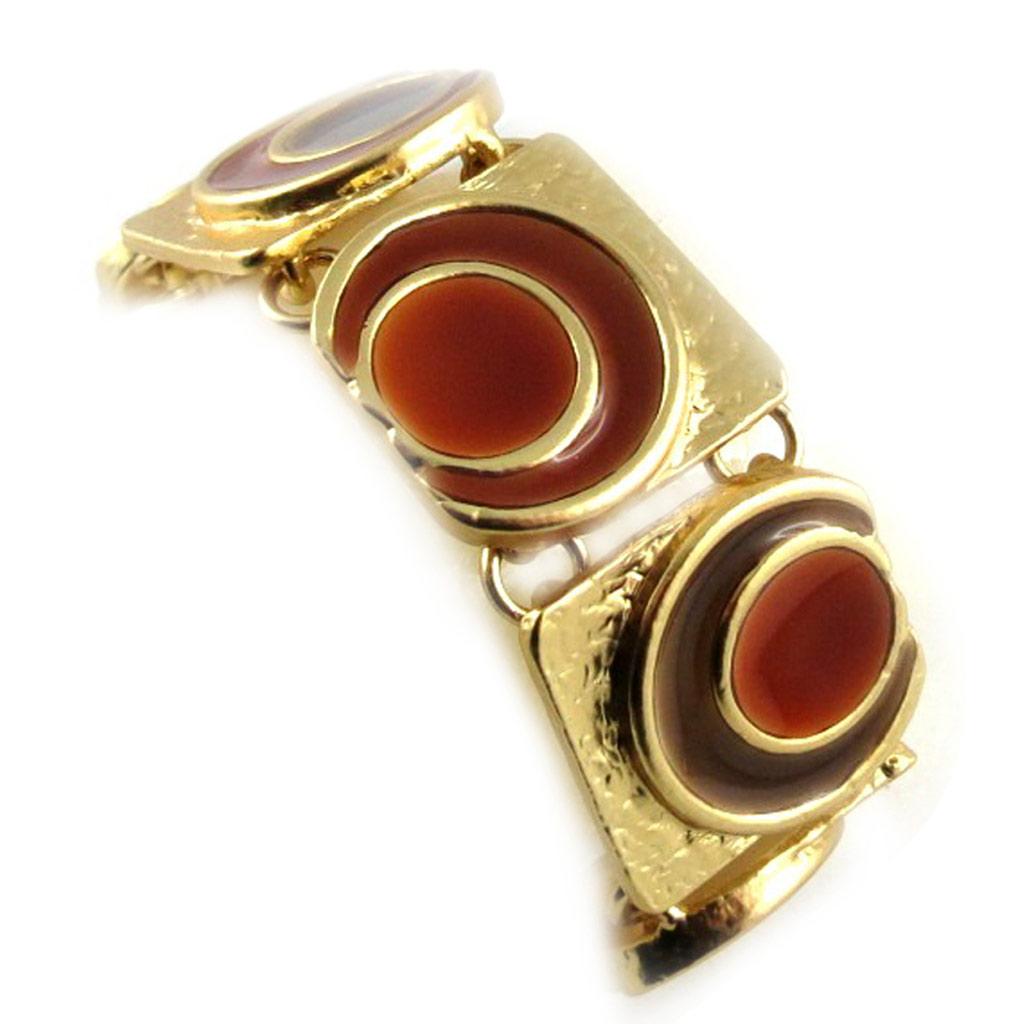 Bracelet Créateur \'DV -Pop Art\' Marron Doré  - [E3021]