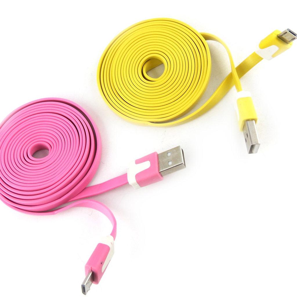 2 cables USB téléphones \'Coloriage\' rose jaune (2m) - [K9290]