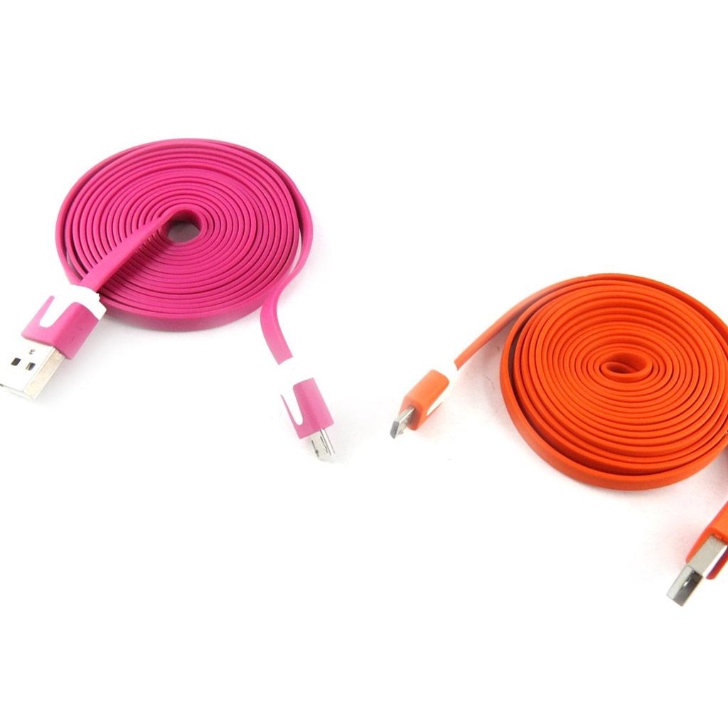 2 cables USB téléphones \'Coloriage\' rose orange (2m) - [K9291]