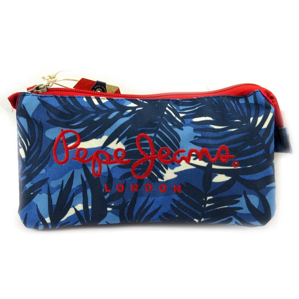 Trousse triple compartiment \'Pepe Jeans\' bleu hawaï - [L6862]