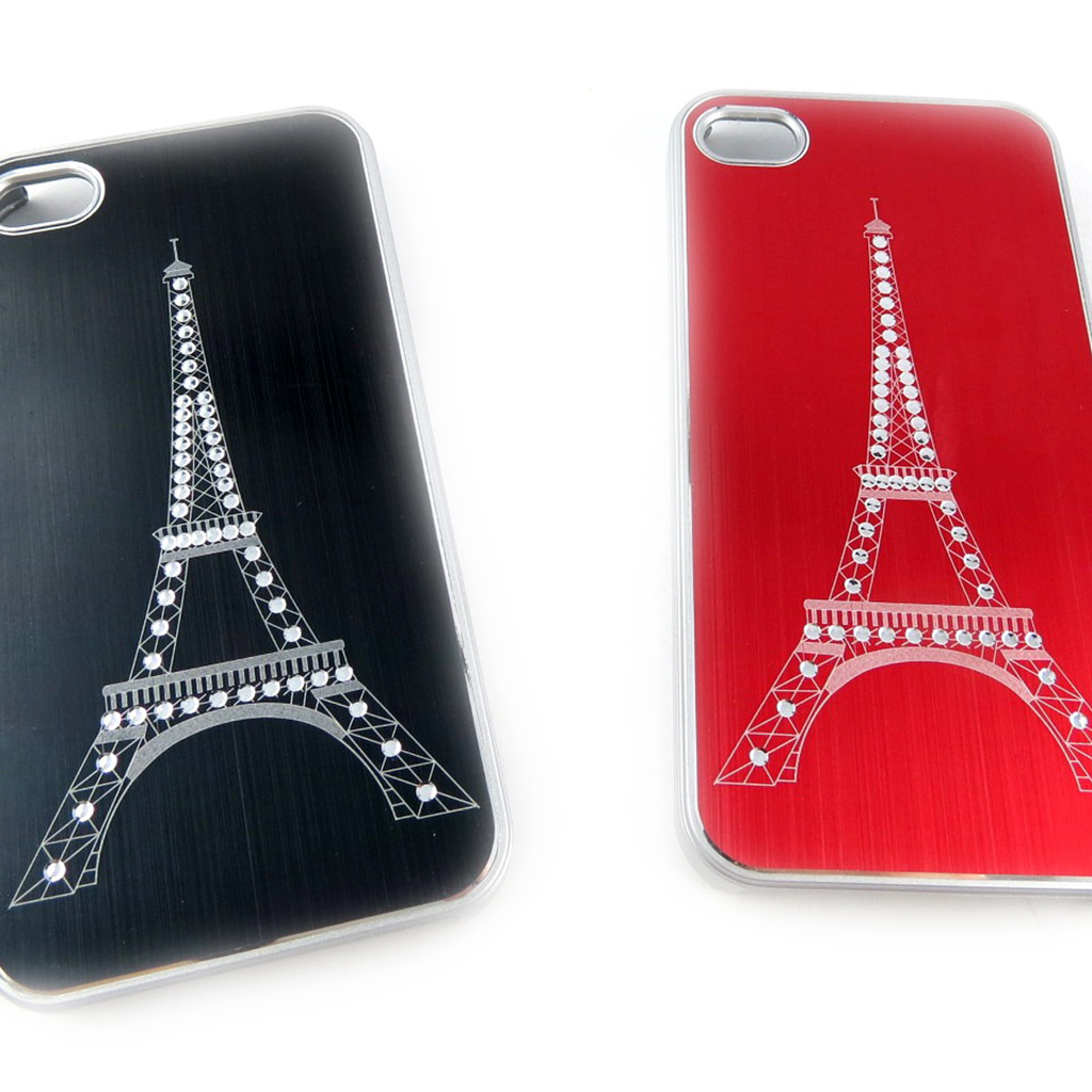 2 coques créateur \'Tour Eiffel\' Iphone 4 4S (noir rouge) - [K9296]
