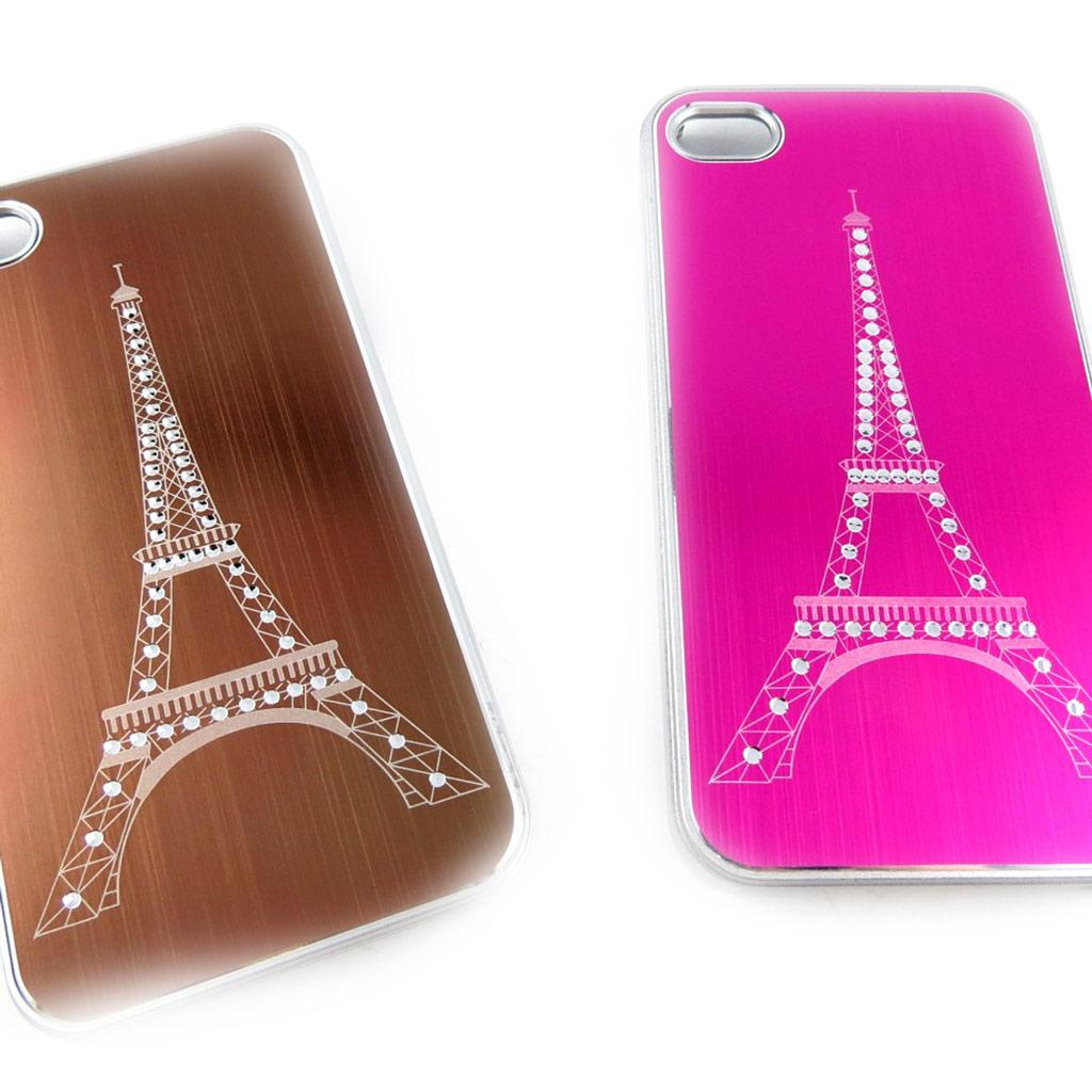 2 coques créateur \'Tour Eiffel\' Iphone 4 4S (chocolat rose) - [K9297]