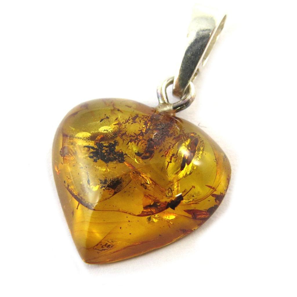 Pendentif Argent \'Love\' ambre miel - 17x16 mm - [N5314]