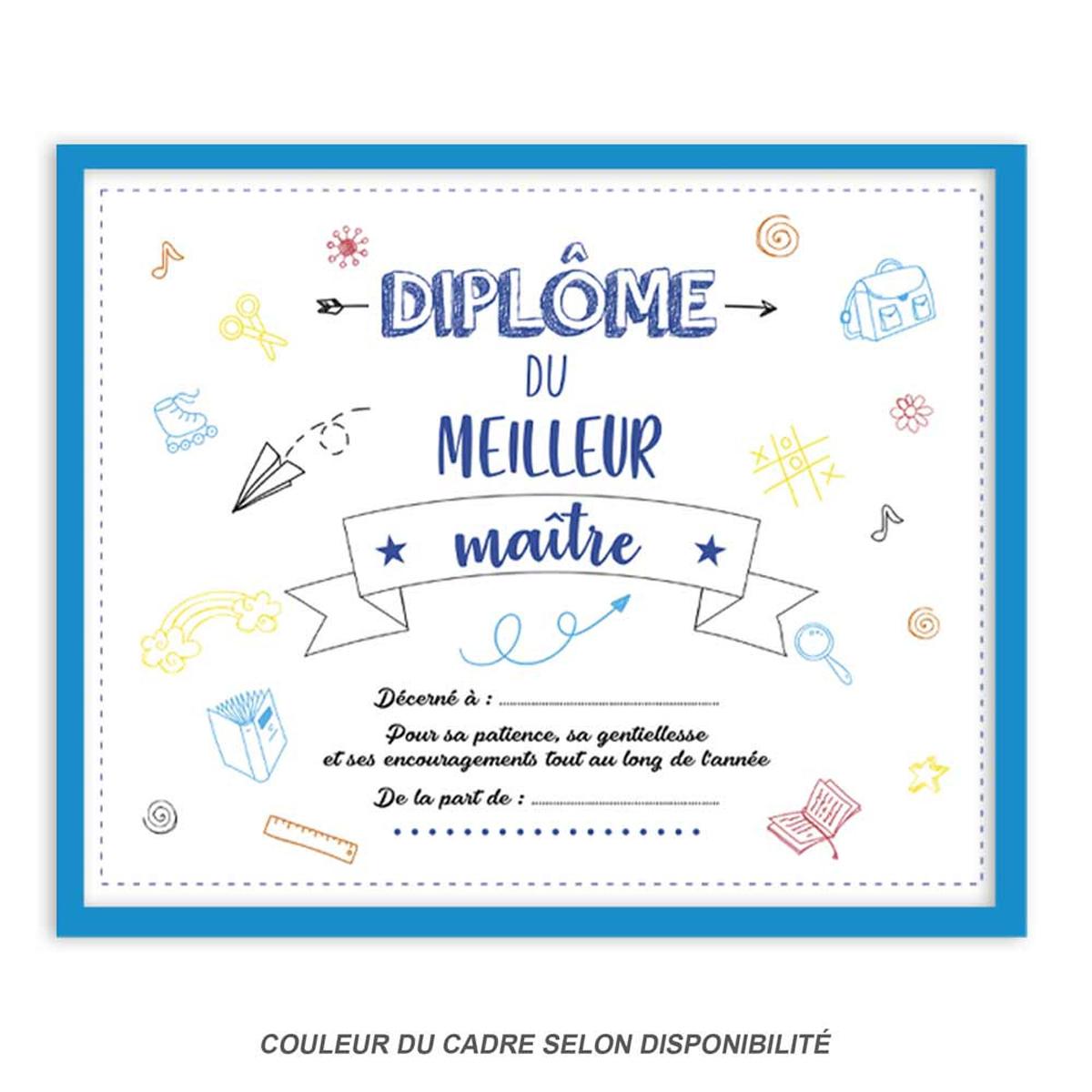 Cadre \'Diplôme du Meilleur Maître\' bleu blanc - 25x20x15 cm - [Q7139]