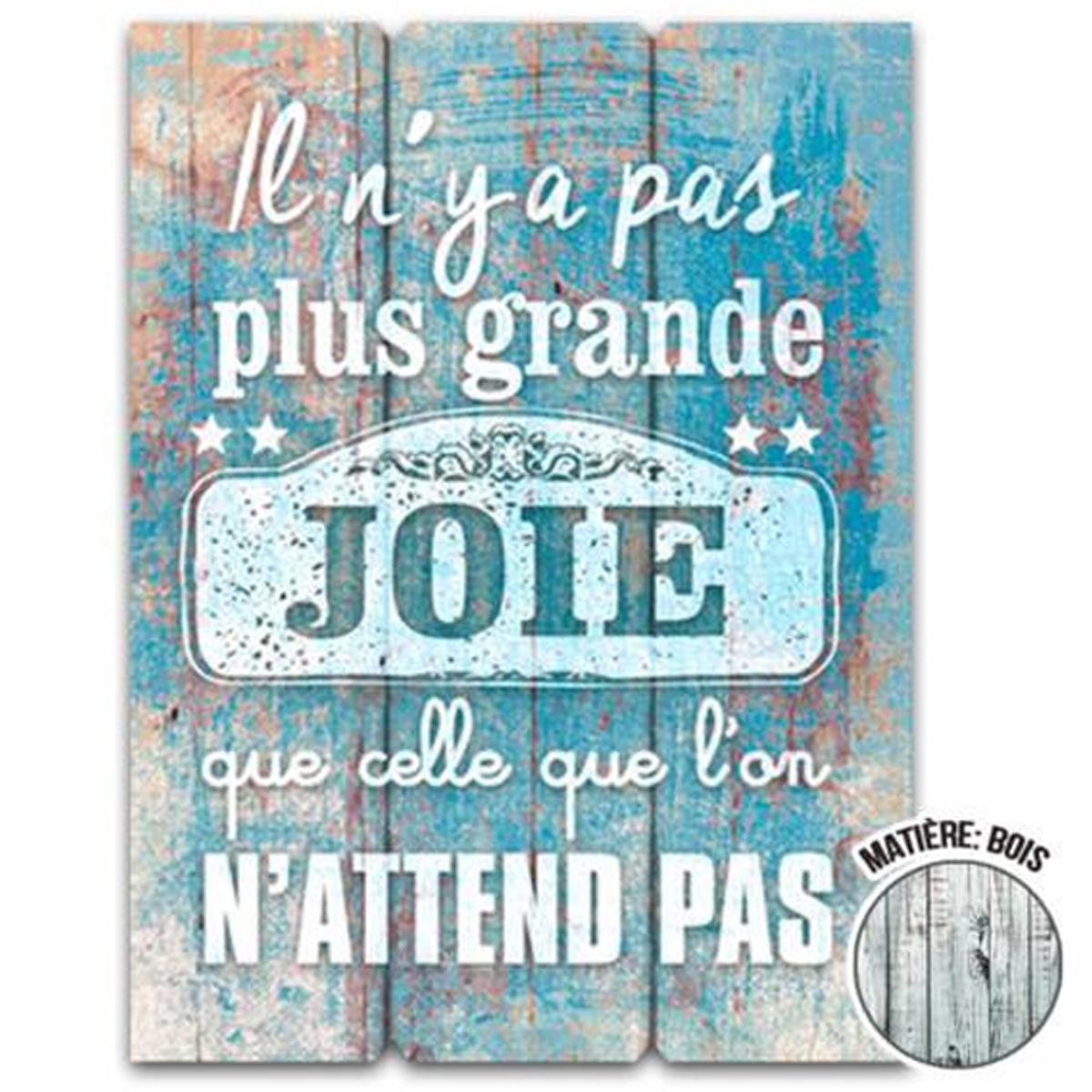 Cadre bois \'Messages\' bleu (Il n\'y a pas de plus grande joie que celle que l\'on n\'attend pas) - 40x30 cm - [Q7143]