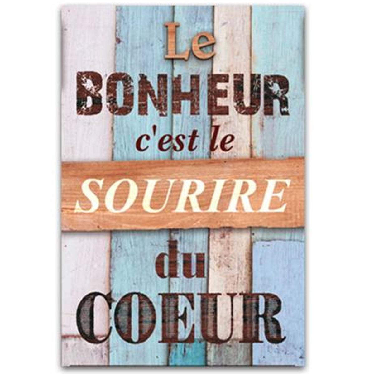 Cadre bois \'Messages\' bleu marron (Le bonheur c\'est le sourire du coeur) - 34x23 cm - [Q7145]