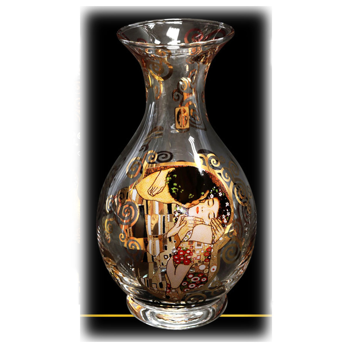 Vase créateur \'Gustav Klimt\' (le Baiser) - 15 cm - [Q7203]