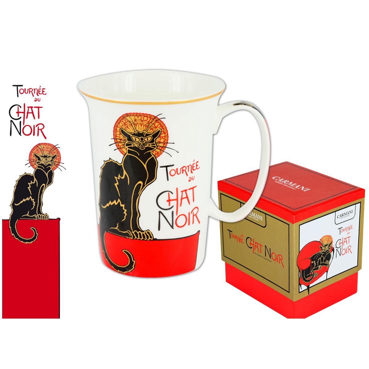 Mug porcelaine \'Chat Noir de Rodolphe Salis\' noir rouge blanc - 115x9 cm - [Q7207]