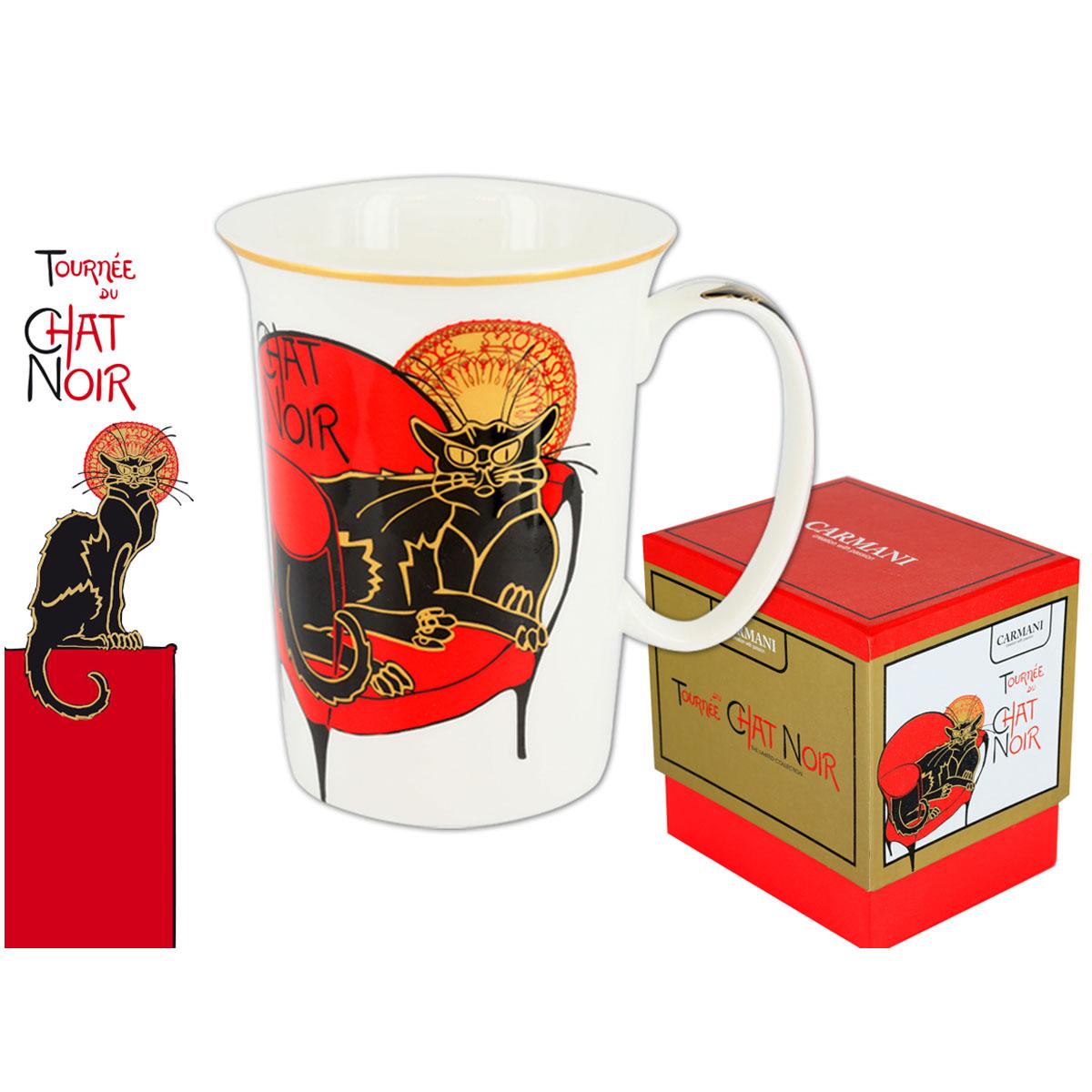 Mug porcelaine \'Chat Noir de Rodolphe Salis\' noir rouge blanc - 115x9 cm - [Q7208]