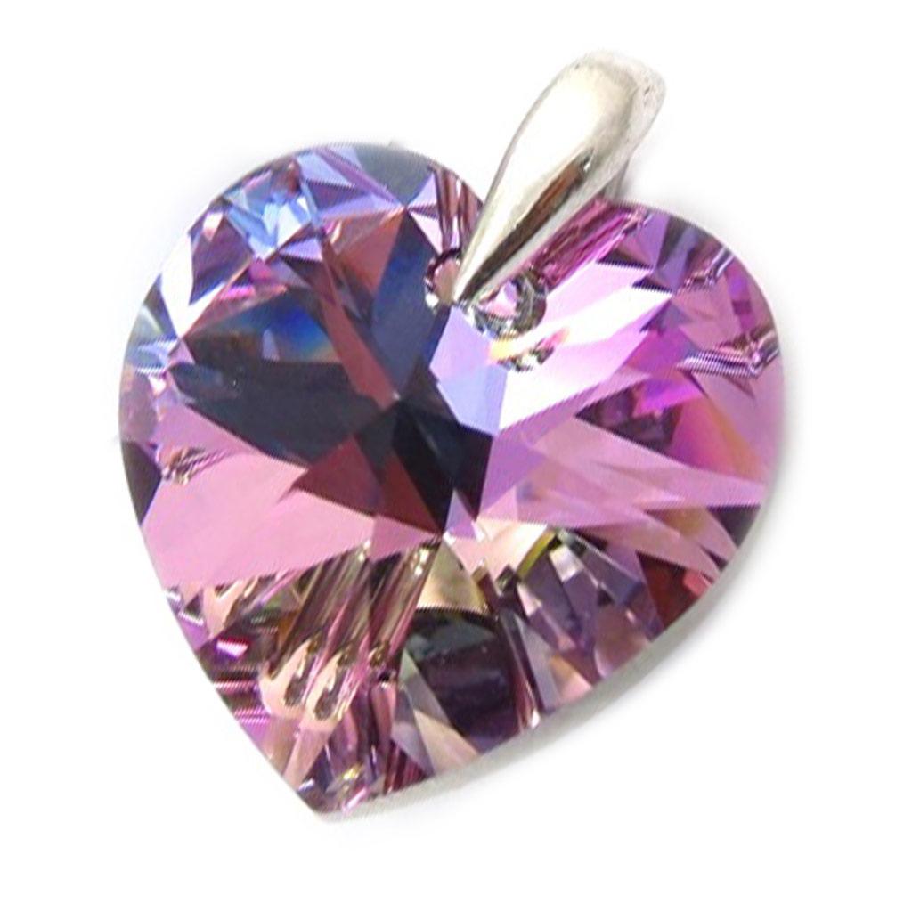 Pendentif Argent \'Love\' violet boréal  - [K2756]