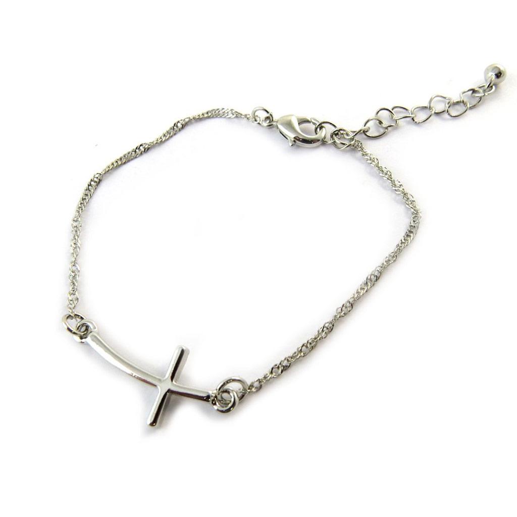 Bracelet \'Croix\' argenté - [N6334]
