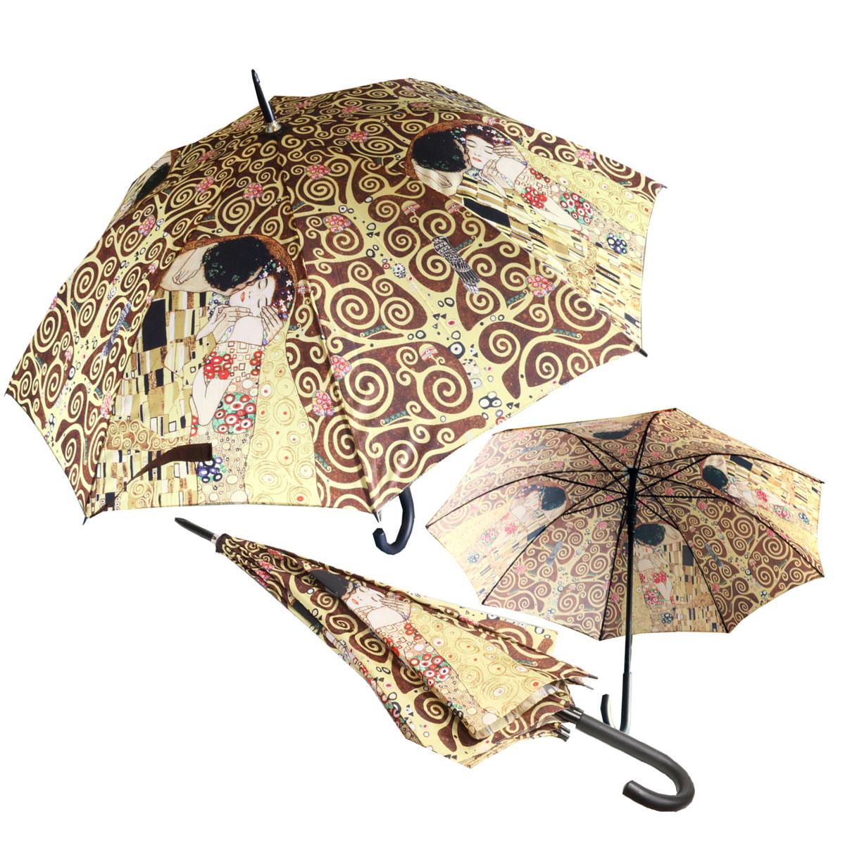 Parapluie canne \'Gustav Klimt\' marron doré (Le Baiser) - 80 cm - [Q7246]