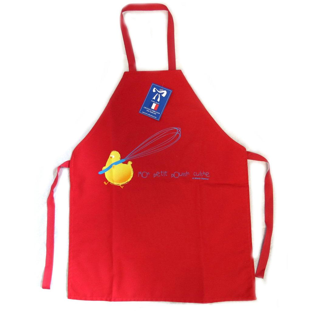 Tablier enfant \'Mon poussin cuisine\' rouge - [N6366]