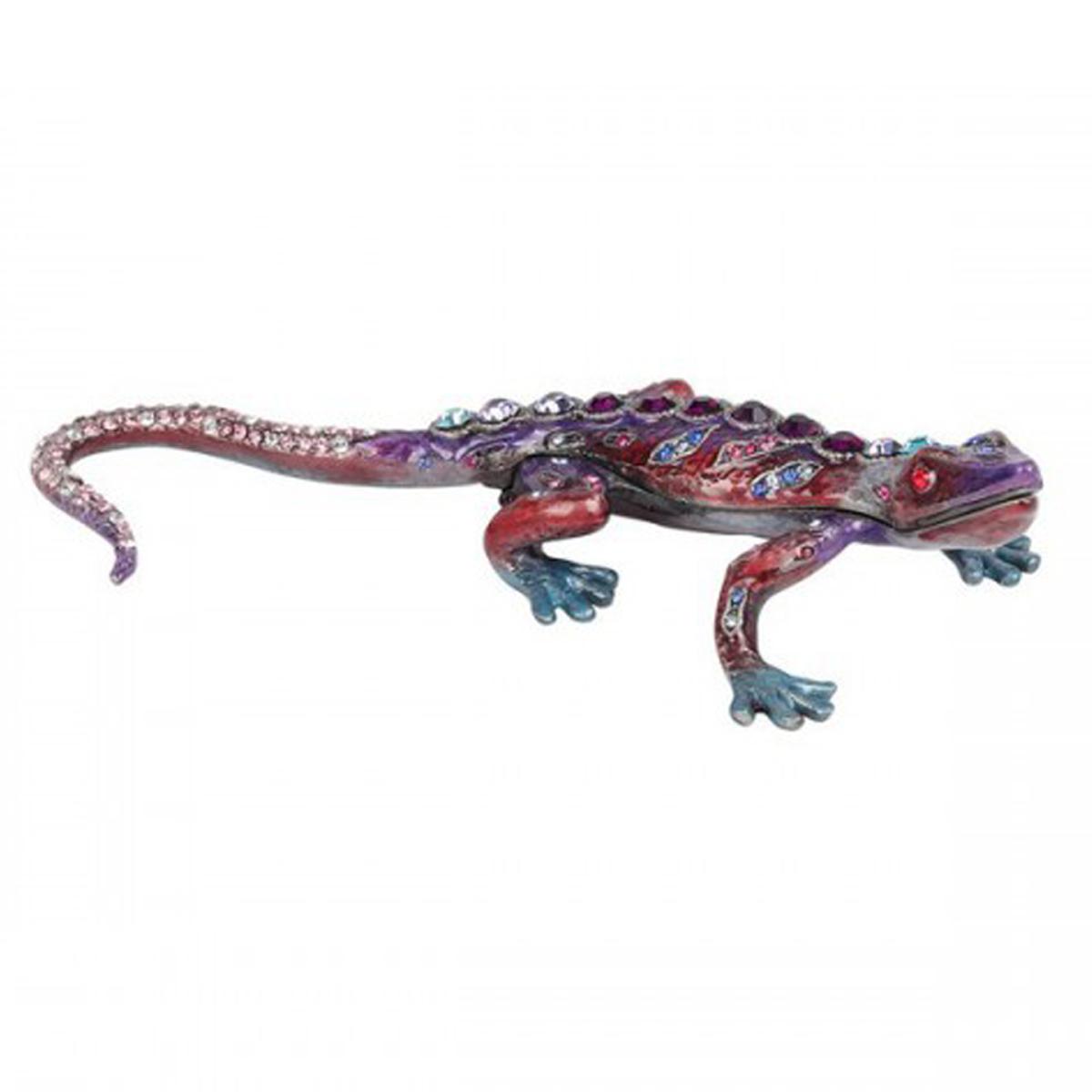 Coffret à Bijoux \'Gecko\' violet rose - 13x25x1 cm - [Q7292]