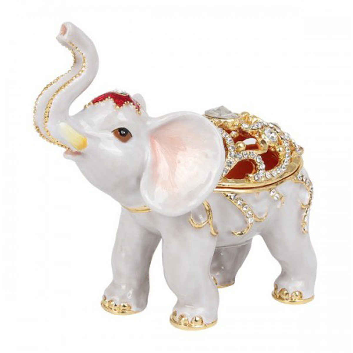 Coffret à Bijoux \'Eléphant Blanc\' blanc rouge - 60x45x10 mm - [Q7298]