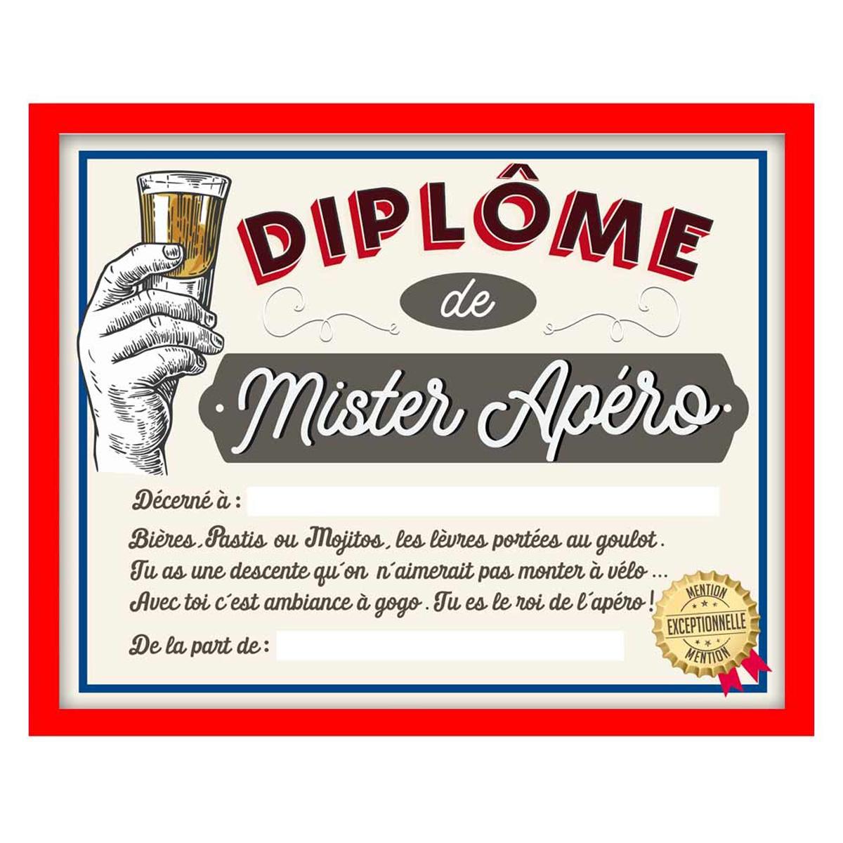 Cadre \'Diplôme de Mister Apéro\' - 25x20x15 cm - [Q7308]