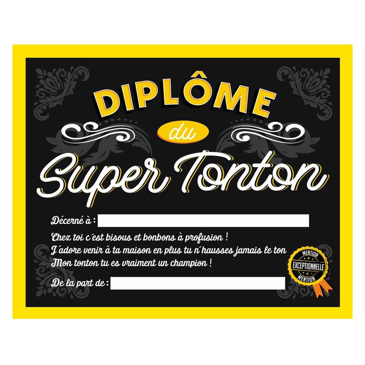 Cadre \'Diplôme du Super Tonton\' noir jaune - 25x20x15 cm - [Q7310]