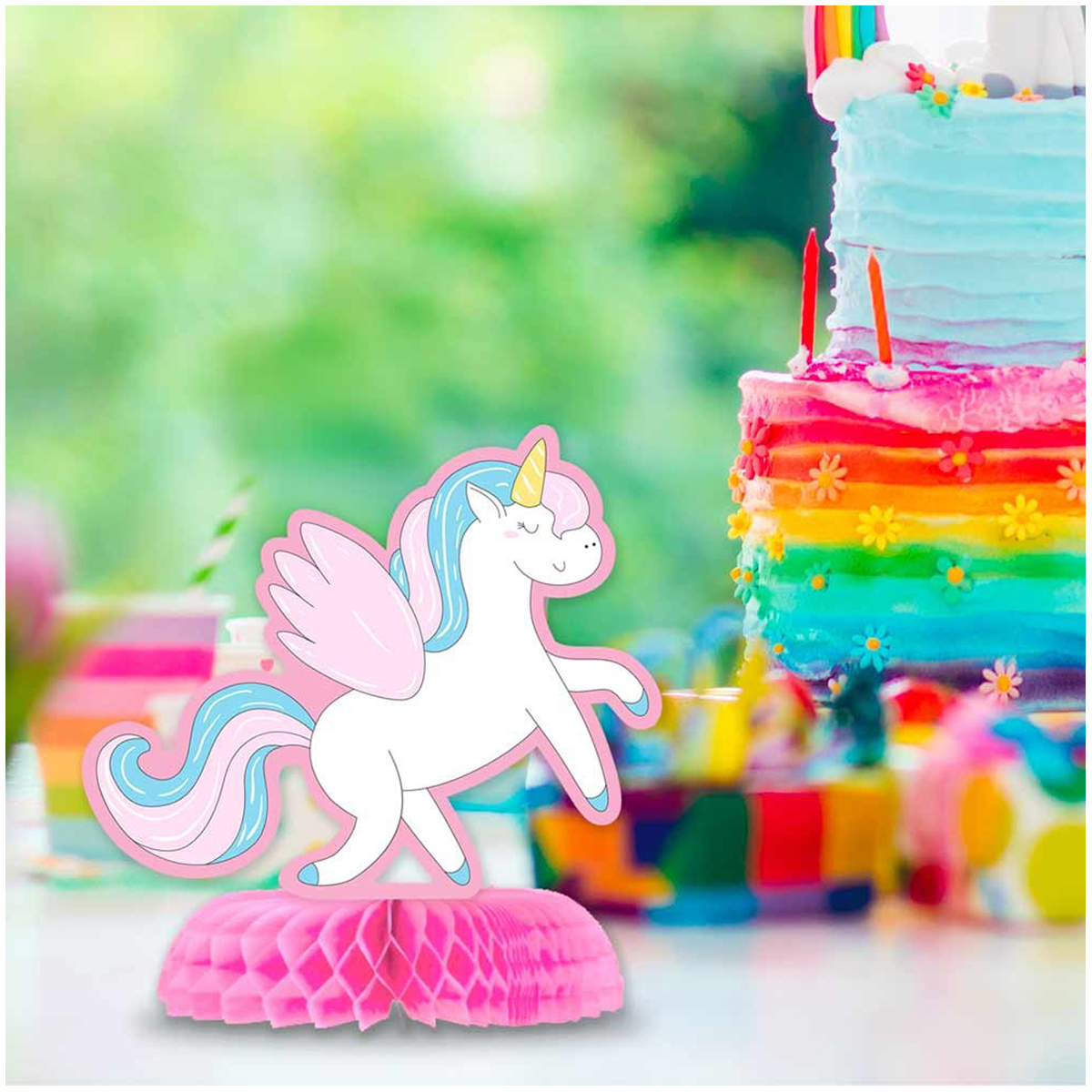 Centre de table \'Licorne My Unicorn\' multicolore - 16x14 cm - [Q7311]