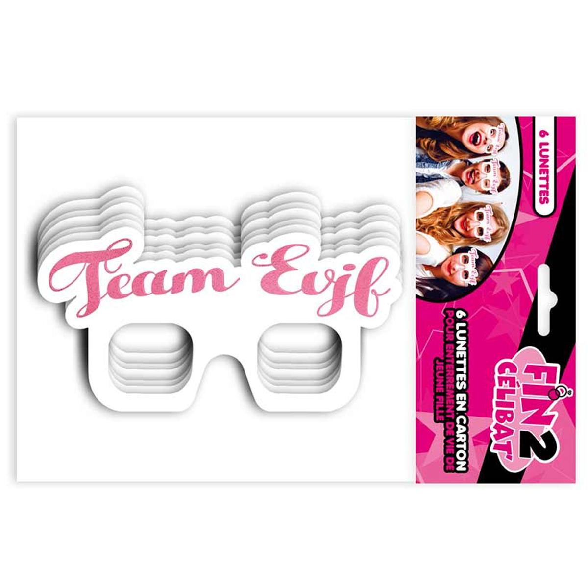 Pack de 6 lunettes \'Enterrement de vie de jeune fille\' blanc rose (Team EVJF) - 20x10 cm - [Q7335]