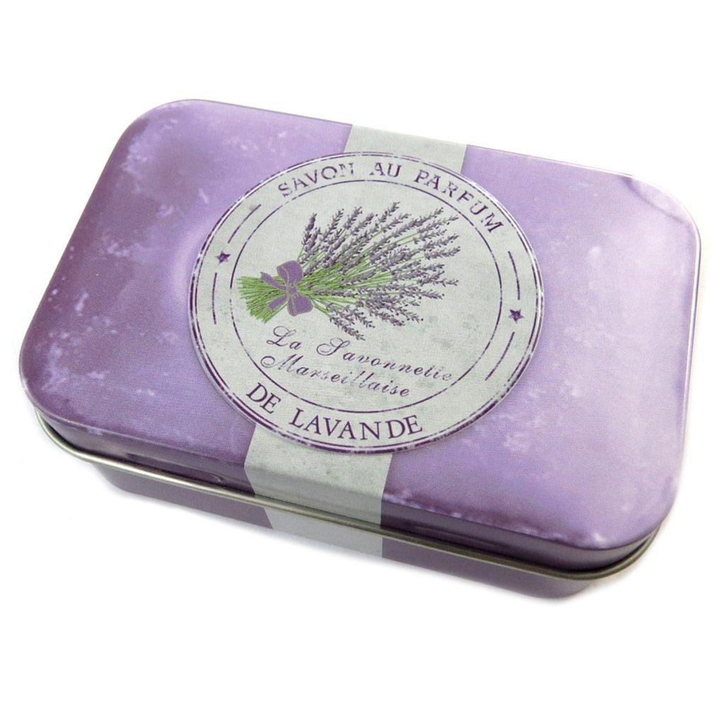 Boite métal \'Savon de Lavande\' violet - [N6549]