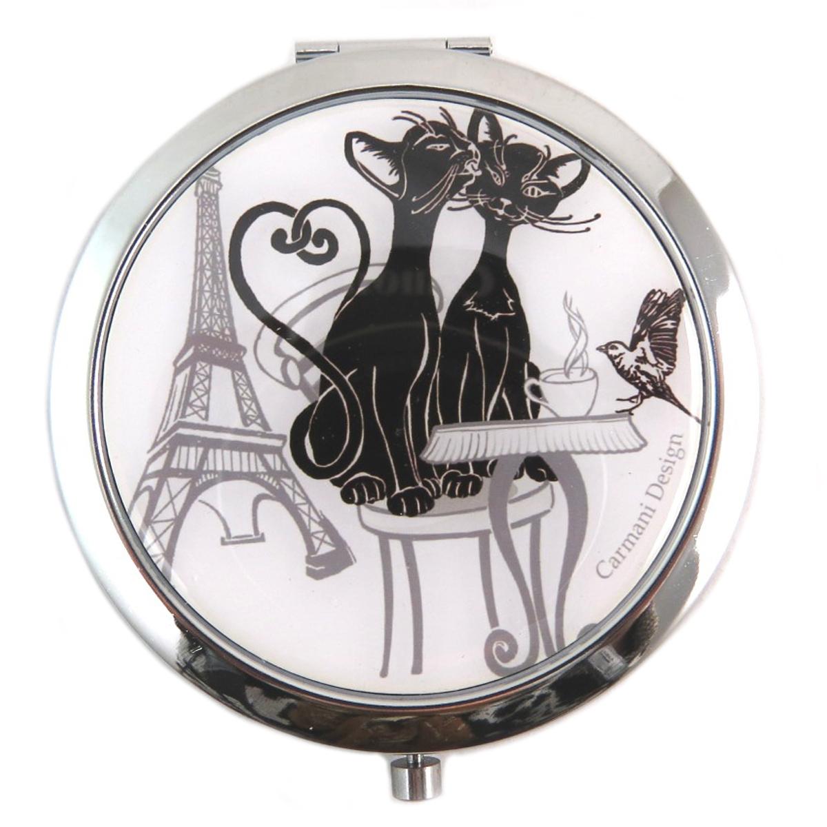 Miroir Créateur \'Les Chats\' blanc noir (tour eiffel) - 65 cm - [Q7368]