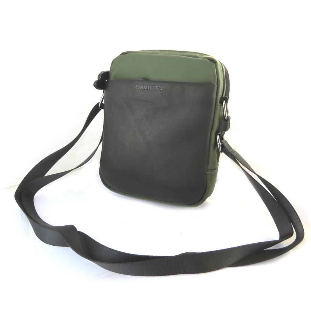 Sac bandoulière \'Indispensable\' noir vert (2 compartiments) - 21x17x7 cm - [N6566]