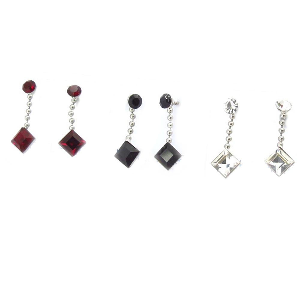 3 boucles argent \'Sissi\' rouge noir blanc - [K3093]