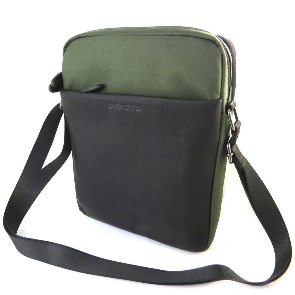 Sac bandoulière \'Indispensable\' noir vert (2 compartiments) - 27x21x7 cm - [N6582]