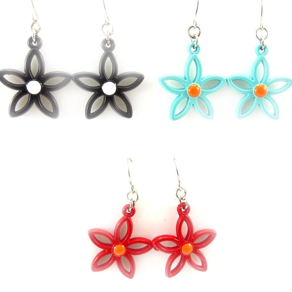 3 paires de boucles créateur \'Flora\' tutti frutti - [K3310]