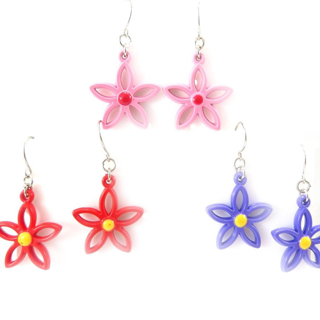 3 paires de boucles créateur \'Flora\' tutti frutti - [K3311]
