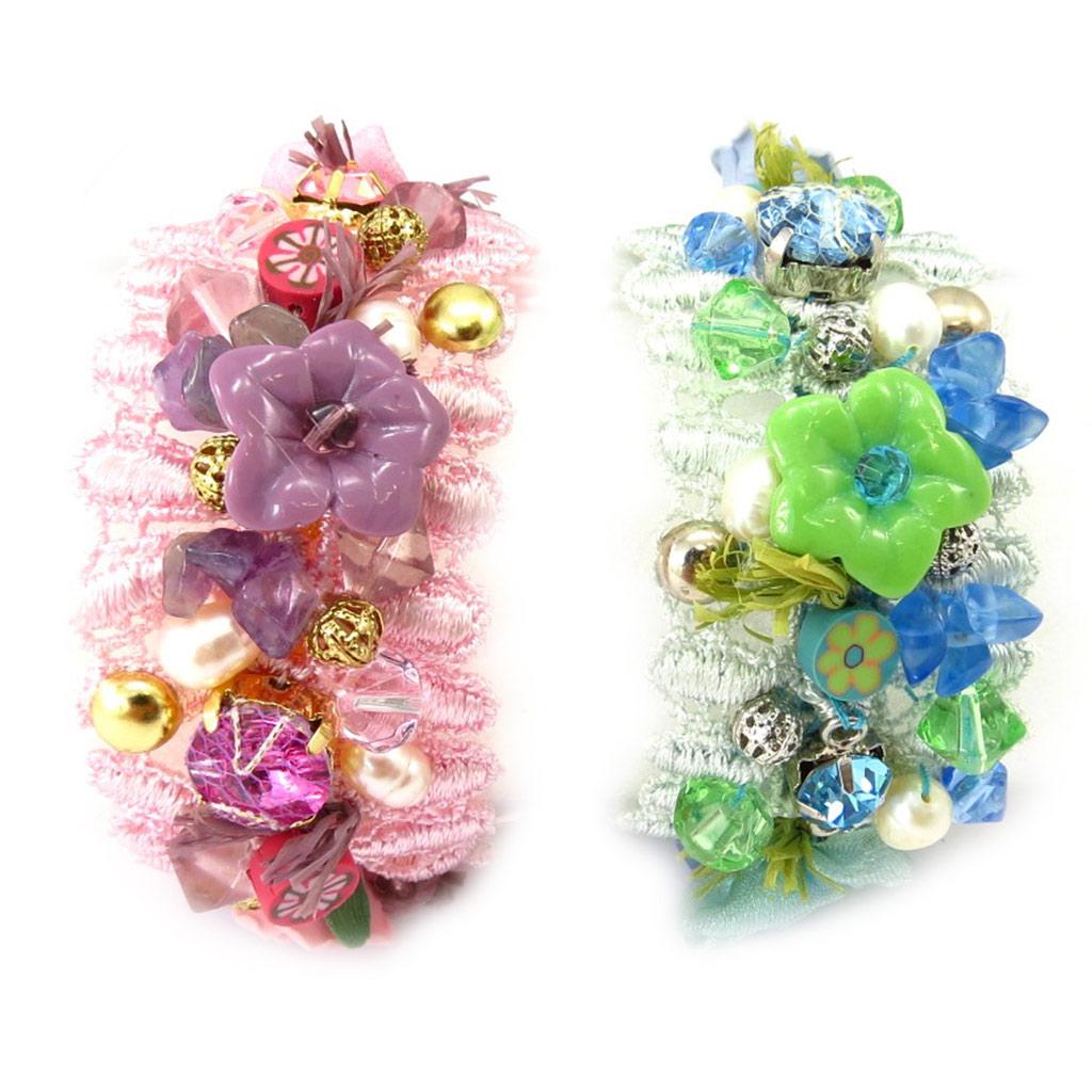 2 bracelets Créateur \'Scarlett\' rose vert - [K3330]