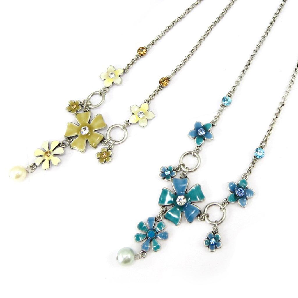 2 colliers créateur \'Flora\' ocre bleu - [K3338]