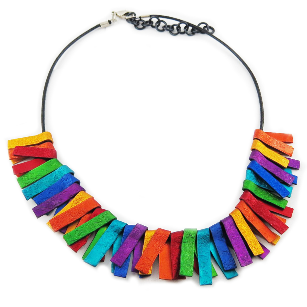Collier artisanal \'Aluminirock\' multicolore - largeur 2 cm - [R1218]
