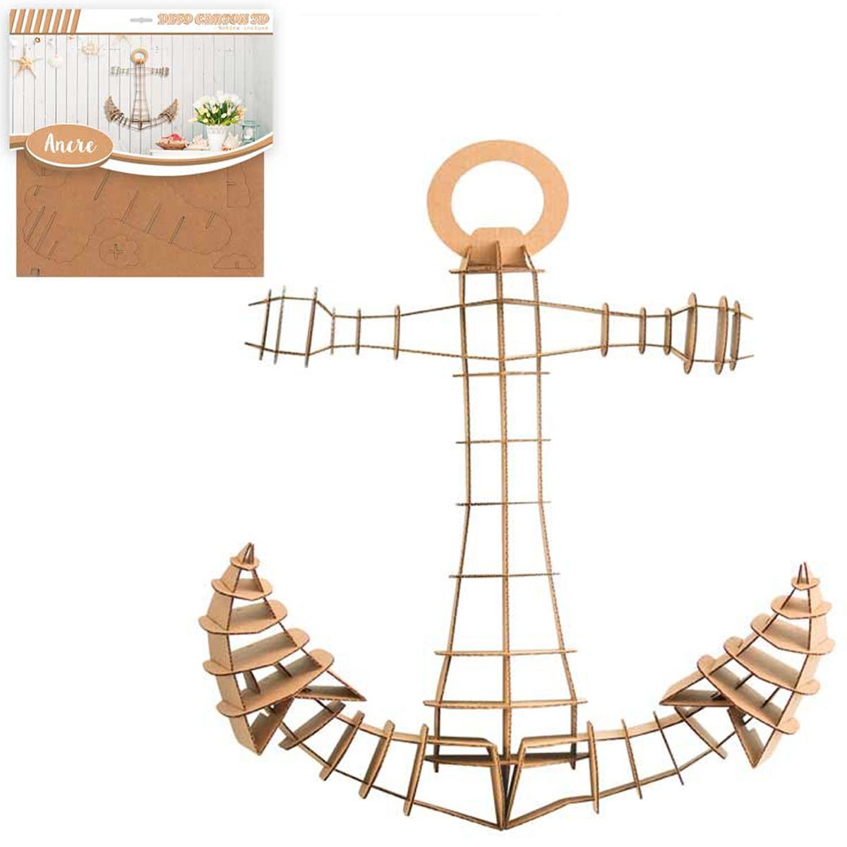 Figurine carton 3D \'Ancre Marine\' - planches 30x305 cm - [Q3142]