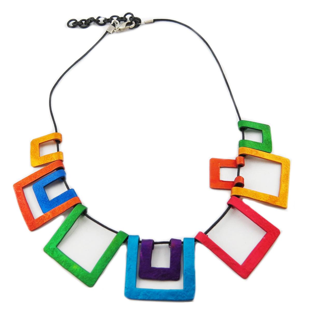 Collier artisanal \'Aluminirock\' multicolore - largeur 25 cm - [R1220]