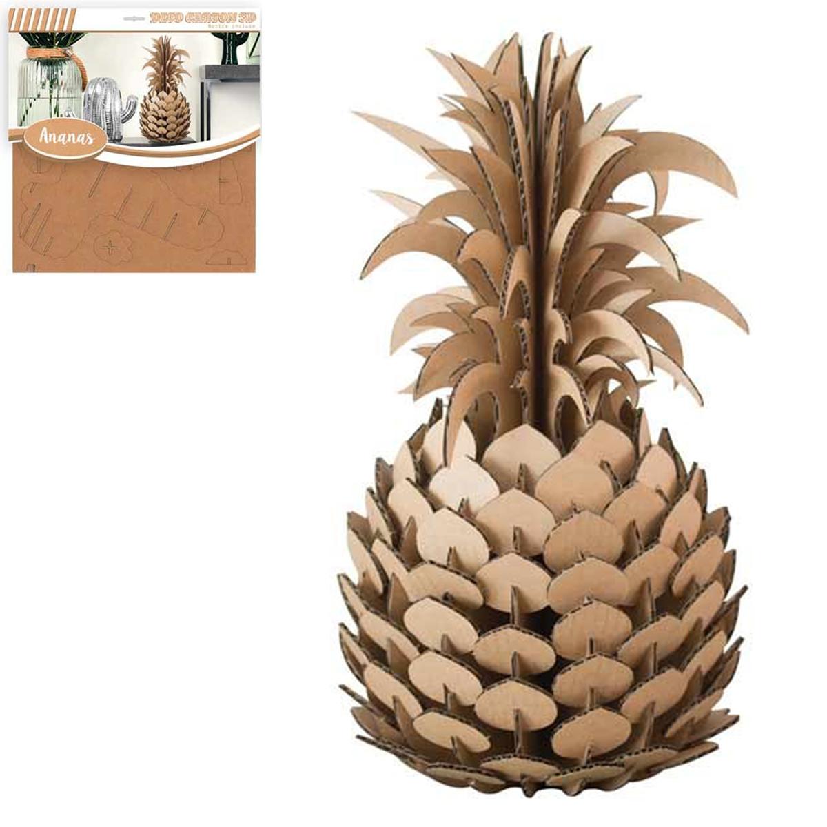 Figurine carton 3D \'Ananas\' - planches 30x305 cm - [Q3143]
