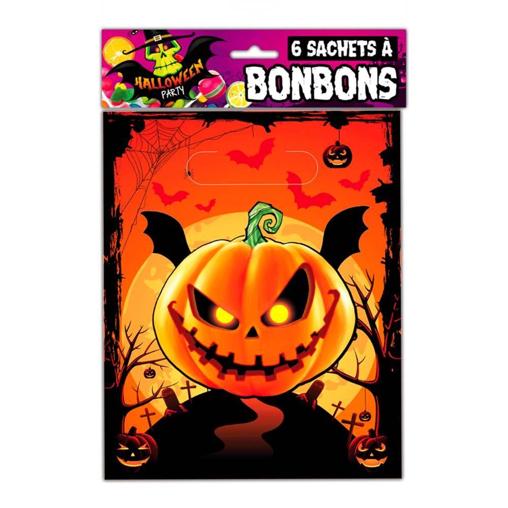 6 sachets à bonbons \'Halloween\' citrouille - 28x16 cm - [Q3153]