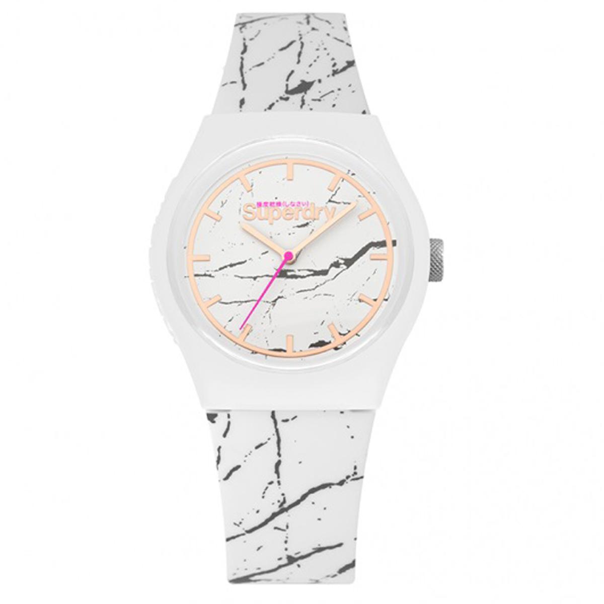 Montre silicone \'Superdry\' blanc marbre - 38 mm - [Q7425]