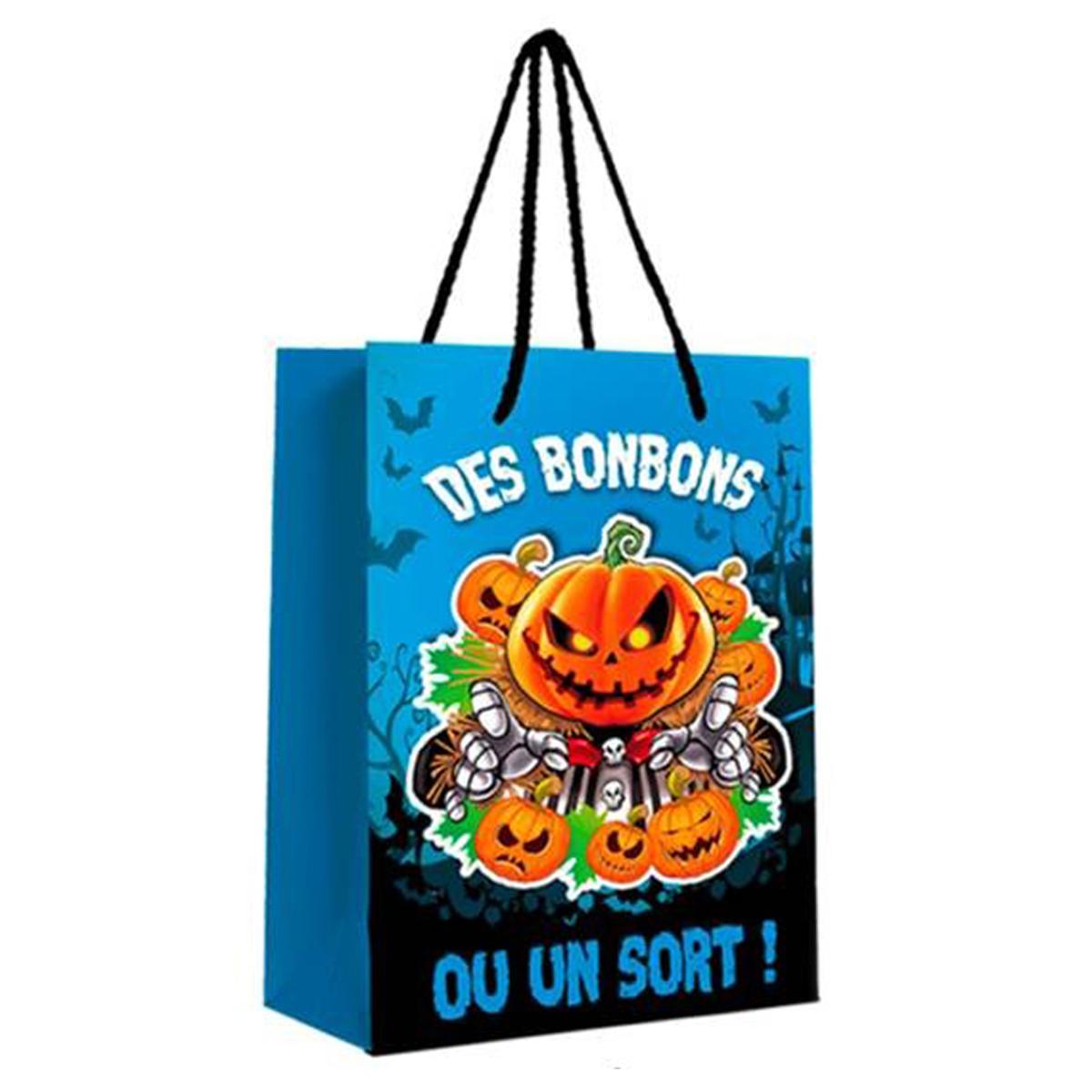 Sac à bonbons \'Halloween\' bleu - 23x18x10 cm - [Q3163]